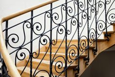 Balusters are the vertical pieces in a stair railing that tie the handrail to the staircase. One approach to installing an interior stair railing is to use decorative square metal balusters with a . Outside Stair Railing, Iron Staircase Railing, Exterior Stair Railing, Wood Railings For Stairs, Steel Stair Railing, Small Staircase, Modern Stair Railing, Stair Railing Design, Stair Handrail