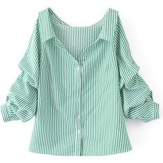 Vertical Striped Tunic Blouse ($23) ❤ liked on Polyvore featuring tops, blouses, long length tops, vertical stripe top, cotton blouse, long tops and green blouse