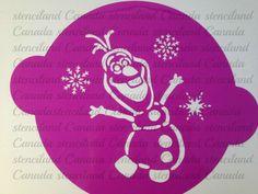 Disney Frozen Olaf cake stencil topper cake by Stenciland Cake Stencil, Pumpkin Stencil, Stencil Painting, Frozen Cake Designs, Olaf Cake, Frozen Pumpkin, Freezer Paper Stenciling, Cricut Stencils, Disney Frozen Olaf