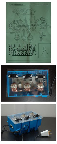The color organ schematic and the final product. Two boards were used in total, each with the ability to synchronize light activity to sound.