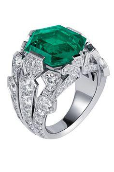 Cartier platinum, 1 carat emerald ring