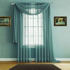 "Warm Home Designs Pair of Premium Quality 54 x 84 Inch Sheer Sea Green Faux-Linen Rod Pocket Curtains. Total Width of Affordable Drape Panels is 108"". Fits 1.5 Inch Rod. J Sea Green 84"""