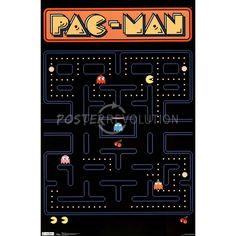 ART - OLD SCHOOL STYLE - Pac-Man Board Video Game Poster