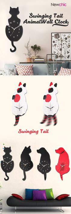 Ticking Animal Shaped Picture Wall Clock Swinging Tail Pendulum Battery Operated3newchic#homedecor#kitty