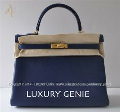 Authentic hermes Kelly 35cm Blue Sapphire Clemence Gold hardware