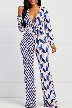 84bf1fb9e630 Geometric Print Color Block Wide Legs Slim Jumpsuits. Pant JumpsuitCasual  JumpsuitJumpsuits For WomenLace UpSlimCasual OutfitsClosetPantsWide Legs