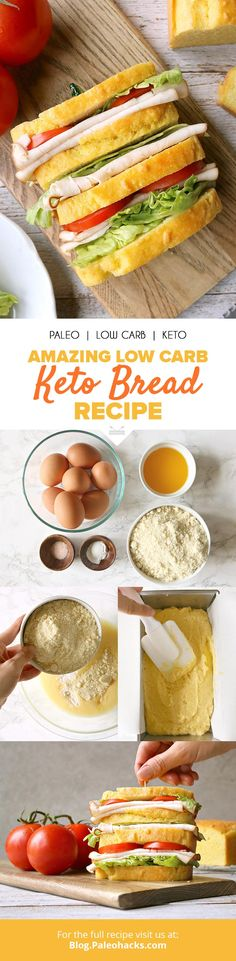 Looking for easy keto bread recipes to stay in ketosis? Try these best low carb bread recipes that are quick and easy! Keto Foods, Ketogenic Recipes, Paleo Diet, Paleo Recipes, Low Carb Recipes, Cooking Recipes, Bread Recipes, Ketogenic Diet, 7 Keto