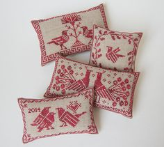 Birds of a Feather Four Pincushions  Instant by modernfolk on Etsy, £5.50