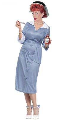 Dress up as Lucy, the star of the party! (Wig sold separately). I Love Lucy Vitameatavegamin Costume | LucyStore.com, $39.95