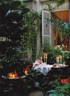 Bruno de Caumont's terrace in the Marais. From Parisian Interiors by Elle Decor, 2008. Photo by Joel Laiter.
