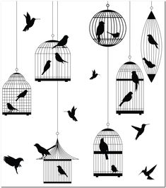 Fridge Magnet - Birds and Cages Silhouettes Silhouettes, Cage, Magnets, Birds, Crafts, Color, Manualidades, Colour, Silhouette
