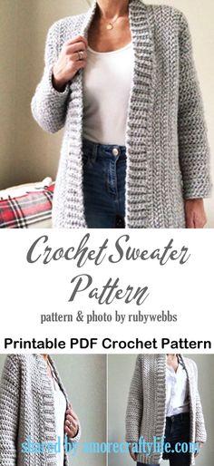 Crochet Cardigan Pattern Free Women, Crochet Hoodie, Sweater Knitting Patterns, Crochet Poncho, Diy Crochet Sweater, Crochet Designs, Crochet Patterns, Crochet Waistcoat, Crochet Crafts