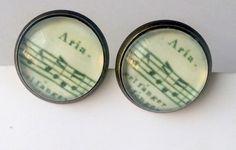 Ohrringe bronze mit Glascabochon versiegelt ø 14 mm