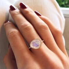 14kt gold and diamond single band moonstone ring – Luna Skye by Samantha Conn