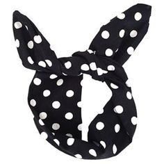 LULU IN THE SKY Black and White Polka Dot Hair Wrap   Top Knot ($8.68) ❤ liked on Polyvore featuring accessories, hair accessories and polka dot hair accessories