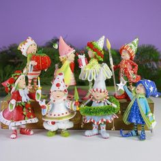 Dash Away Elf Figural Ornaments, set of 8 | Patience Brewster