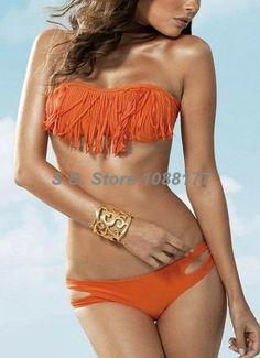 2014 Orange Women's Swimwear Tassel Bandeau Top Low Rise Bottom Bikinis Set Online Model 3010 $12.99