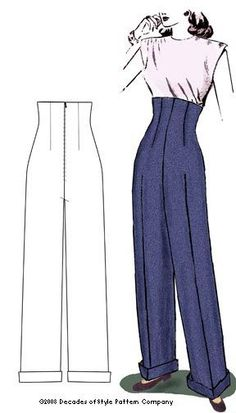 Decades of Style pattern #4004 / 1940s empire waist trouser with invisible zipper at center back