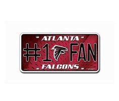 Atlanta Falcons Logo Car Tag Diamond Etched on Black Aluminum License Plate