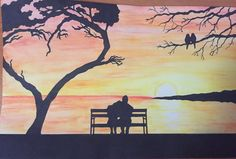 Watercolour Couple Sunset