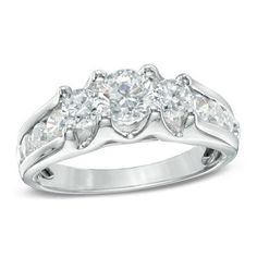 1-1/2 CT. Diamond Three Stone Engagement Ring in 14K White Gold
