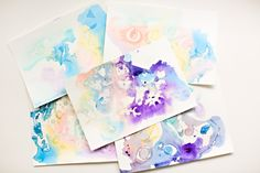hello, Wonderful - MARBLED WATERCOLOR AND OIL PAINTING WITH KIDS