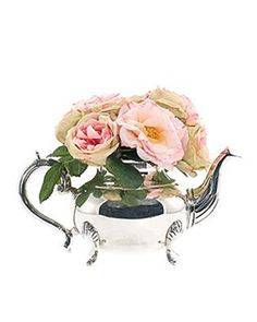 NEW Silk Pink Roses in Silver Teapot  www.TheConsignmentBag.com NEW items arrive daily.  Huge Savings!