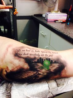 Love this!! Want something similar, but the quote all the way from Gatsby believed in the green light to the last line of the book. Maybe a bit of definition to the light too.
