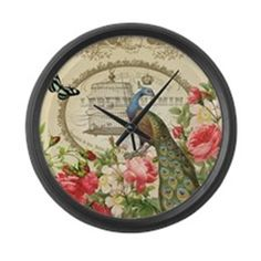 Vintage French Peacock and roses Large Wall Clock ~ $35 CafePress.com