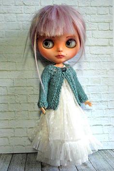 Blythe Doll Knitted Alpaca/Silk  Blue/Green Cardigan