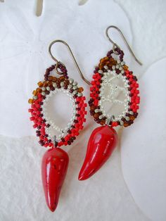 Red Ivory Brown Freeform Peyote Earrings with by PhantasmCreates