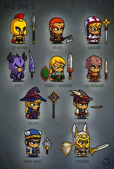 Rpg cartoon characters - game art by eatcreatures on creative market game character design, Game Character Design, Character Concept, Game Design, Character Art, 2d Game Art, Video Game Art, Chibi, 2d Rpg, Game Concept Art