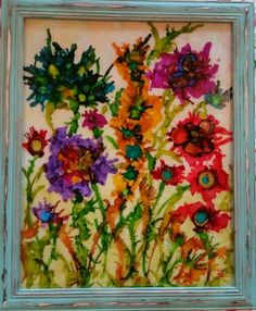 crazy flowers with alcohol ink