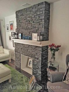 Stacked Stone Fireplace.....cool faux stone
