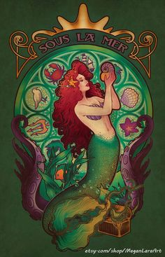 SOUS LA MER - by Megan LaraGrab it on a shirt or a print! As for the French, the title of the song is Sous locean but according to my French-speaking friends, Sous la Mer is more literal for Under the Sea, so thats what I went with. Art And Illustration, Illustrations, Real Mermaids, Mermaids And Mermen, Disney Kunst, Art Disney, Art Nouveau, Alfons Mucha, Mermaid Tale