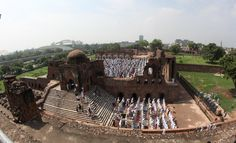 Muslims offer prayers on occassion of Eid-ul-Fitr at the Feroz Shah Kotla Fort mosque in Delhi on July 29, 2014. (IANS) @oneindia