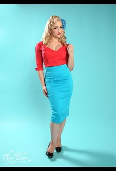 Pencil Skirt in Ocean Blue by Pinup Couture