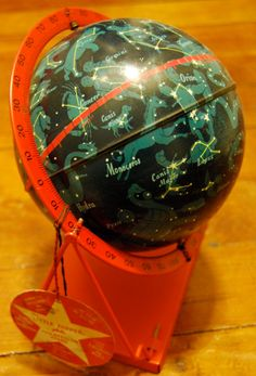 1950s vintage tin space globe of constellations / stars