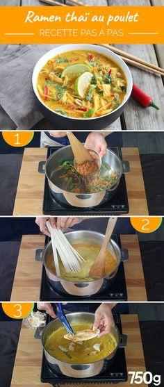 Bouillon de Ramen Thaï au poulet - The Best Korean Recipes Ramen Noodle Recipes, Soup Recipes, Cooking Recipes, Ramen Noodles, Chicken Recipes, Ramen Broth, Ramen Soup, Coconut Curry Soup, One Skillet Meals