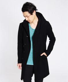 Kazuyuki Kumagai Attachment -- Melton Hooded Long knit stretch cashmere blend coat hook