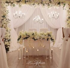Sweetheart table design Cheap Wedding Decorations, Ceremony Decorations, Table Decorations, Funeral Reception, Ceiling Draping, Crystal Candelabra, Sweetheart Table, Bridal Flowers, Flower Centerpieces