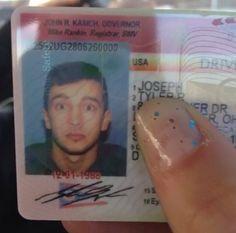 Tyler Joseph's driver license