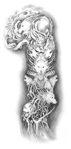 Demon Wolf Tattoo by fallingSarah.devi… on Demon Wolf Tattoo by fallingSarah. Wolf Sleeve, Wolf Tattoo Sleeve, Full Sleeve Tattoos, Tattoo Sleeve Designs, Viking Tattoo Sleeve, Rune Tattoo, Norse Tattoo, Celtic Tattoos, Viking Tattoos