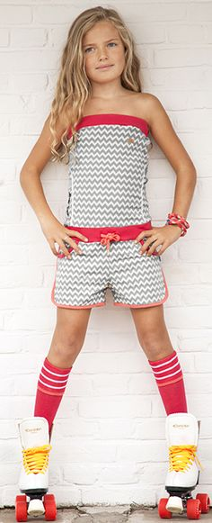 Ninni Vi cool jumpsuit with zigzag design, tween girls clothing