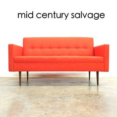"""Custom Made In-Store Atomic Orange Judy Sofa - 60""""L, 31""""D, 33""""T $1800 WE SHIP! 704-635-8744 *Ask about our made to measure seating!* #charlotte #midcenturymodern #midcentury"""