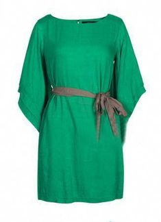 3f218693e449d0 Green Vintage Slim Round Neck Backless Half Sleeve Dress Buy at Sheinside