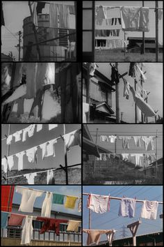 Ozu laundry line shots from:   Passing Fancy (1933) 00:12, A Story of Floating Weeds (1934) 46:46, The Only Son (1936) 1:09:20, There Was A Father (1942) 1:15:40, Tokyo Story (1953) 1:31:01, Early Spring (1956) 59:19, Equinox Flower (1958) 1:55:52, Good Morning (1959) 1:33:44