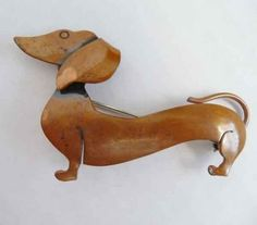 Vintage 50's Copper 3D Dachshund by Planetclairevintage on Etsy