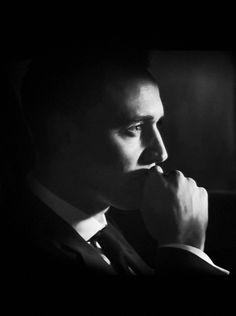 Tom Hiddleston | Jaguar commercial, 2014. Black and white edit. Those eyes.