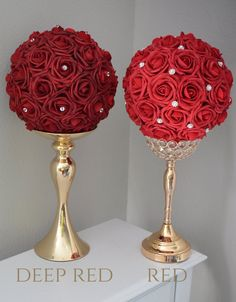DEEP RED Flower Ball With Rhinestone Accent.Beautiful Elegant Centerpiece that will make any event beautiful. Quinceanera Centerpieces, Quinceanera Party, Flower Centerpieces, Wedding Centerpieces, Wedding Decorations, Deco Floral, Arte Floral, Elegant Flowers, Red Flowers